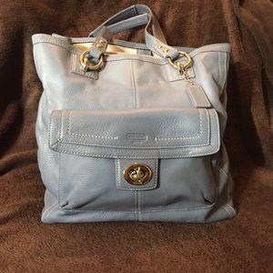 Coach Blue Gray Tote Bag 2 compartments